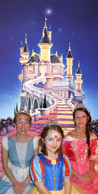 3 beautiful princesses in front of a castle