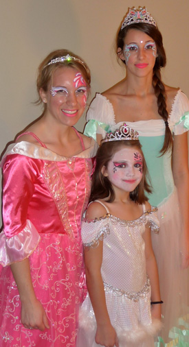 Dresses, tiaras, face painting, gowns all provided at our princess parties