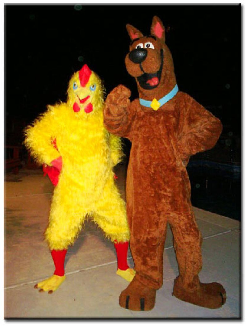 Chicken and detective dog costumed character rental in Raleigh