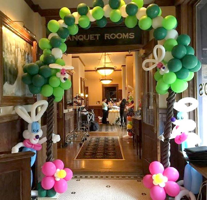 Easter balloon decorations for Durham restaurant