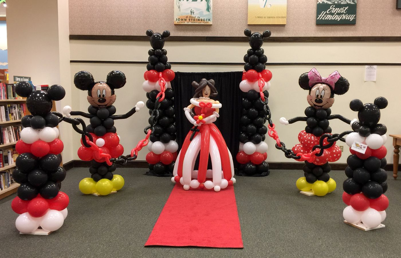 Mouse and princess balloon decorations for story time event in Cary NC