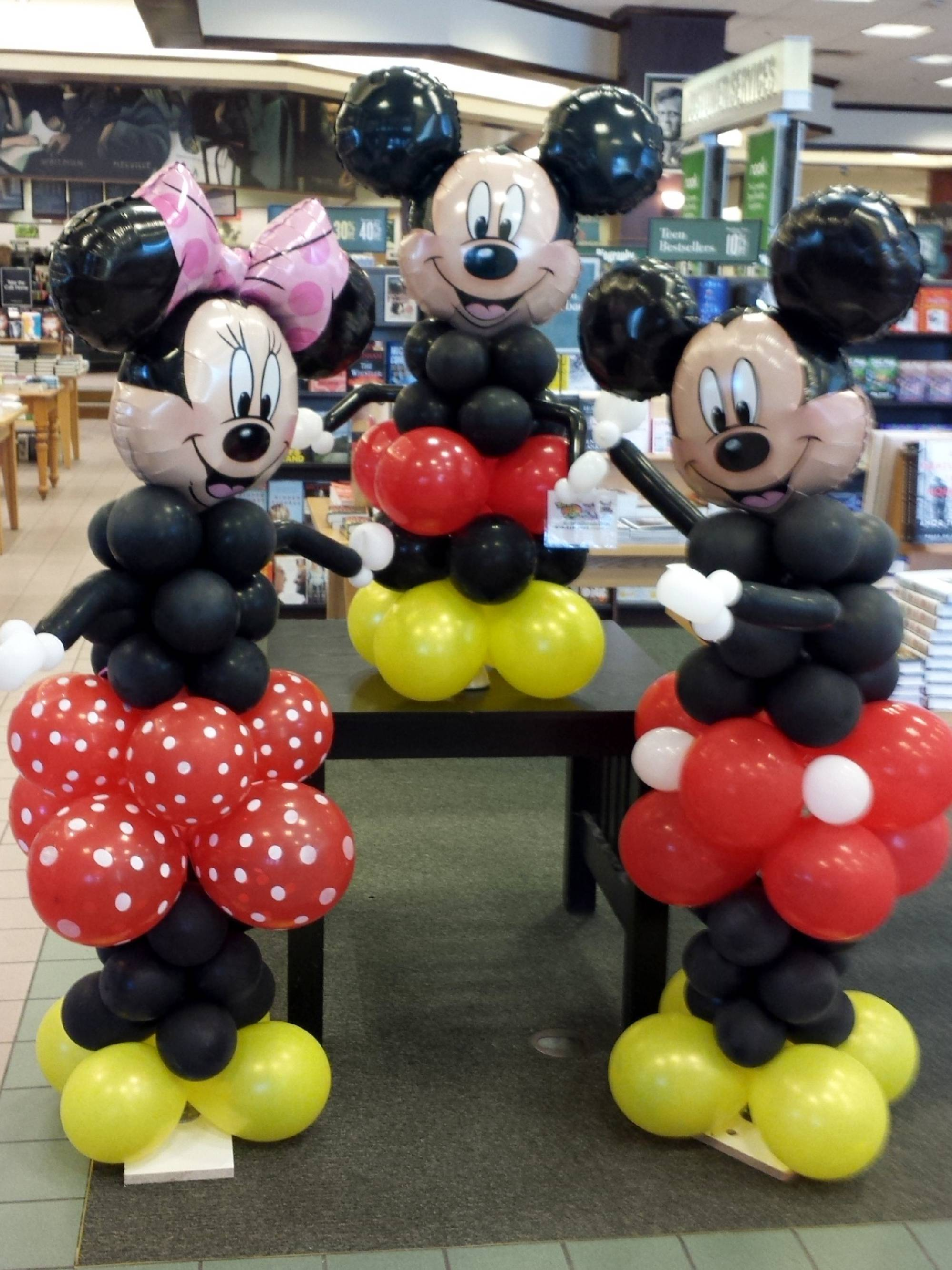 Three famous mouse balloon decorations at Barnes and Noble