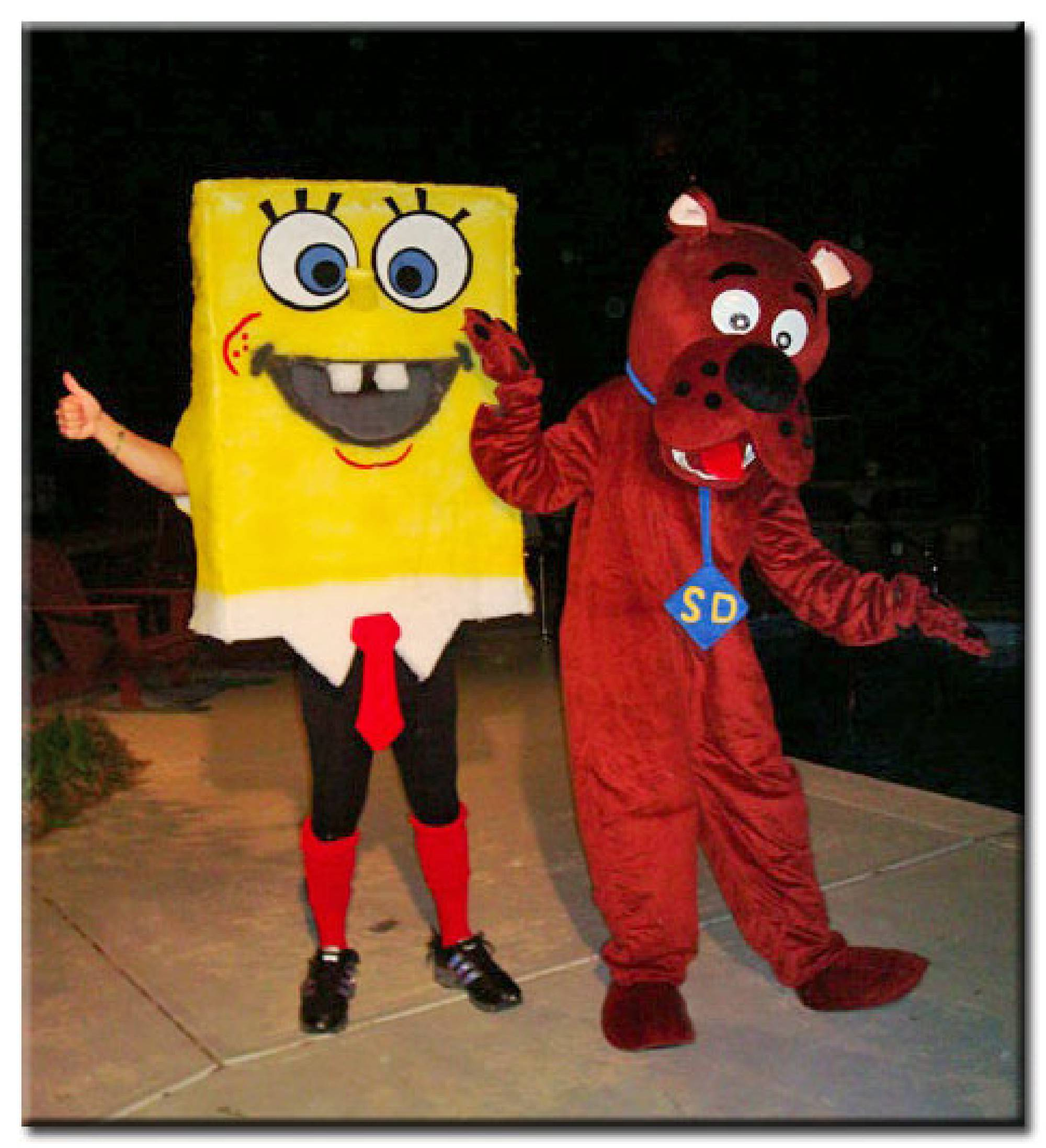 Yellow sea creature and Junior detective dog costumed character rental