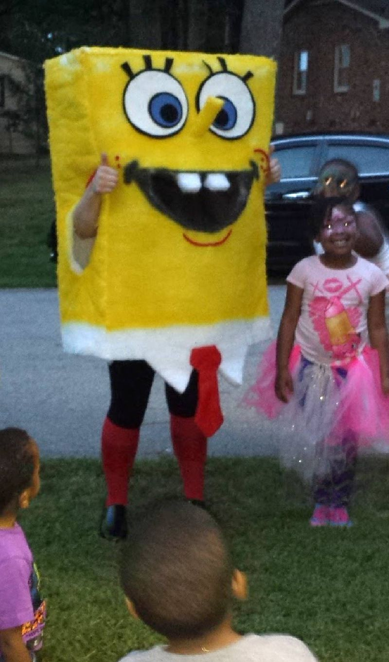Yellow sea creature costumed character rental at party