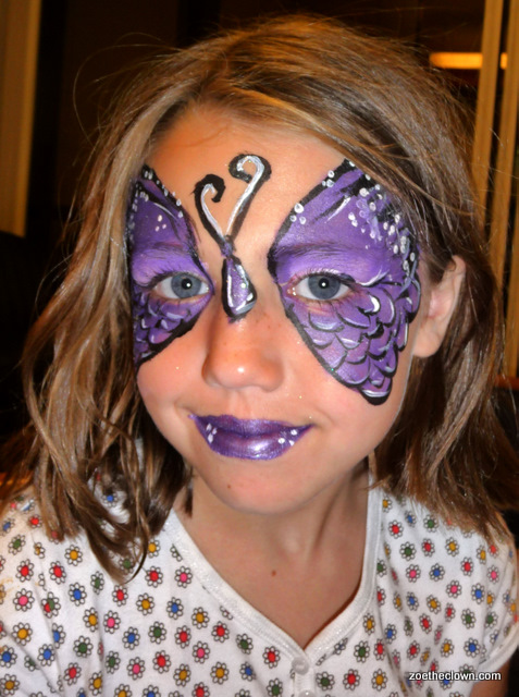 purple butterfly  face painting
